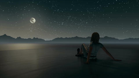 Lonely woman looking at night sky in surreal landscape Animación