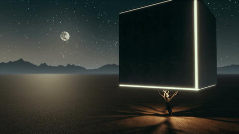 Surreal lonely cube tree in apocalyptic desert at night Animación