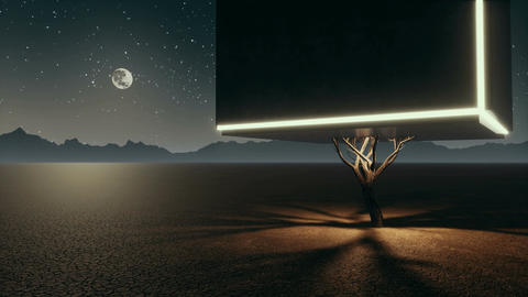 Unreal lonely cube tree in fantastic desert at night Animation
