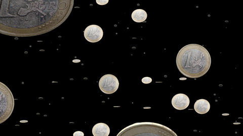 Euro coins particles 01 Stock Video Footage
