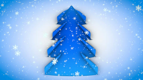 christmas tree paper curl snow 02 Stock Video Footage