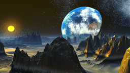 Rising of a planet similar to Earth Stock Video Footage