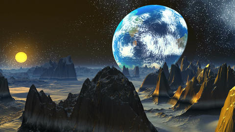 Rising of a planet similar to Earth Animation