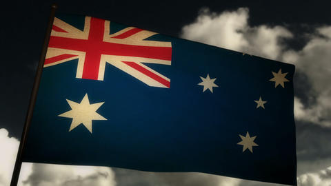Flag Australia 02 Stock Video Footage