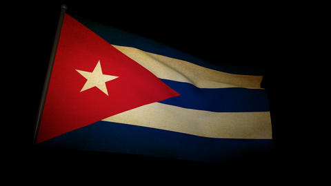 Flag Cuba 01 Stock Video Footage