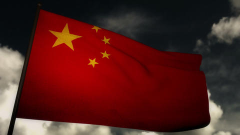 Flag China 02 Stock Video Footage