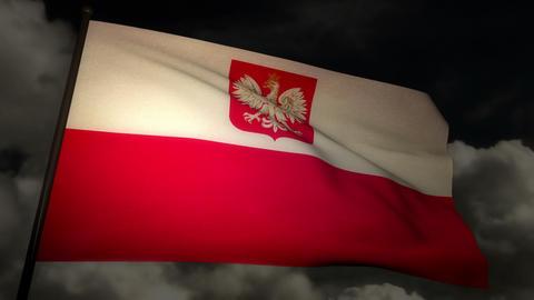 Flag Poland 02 Stock Video Footage