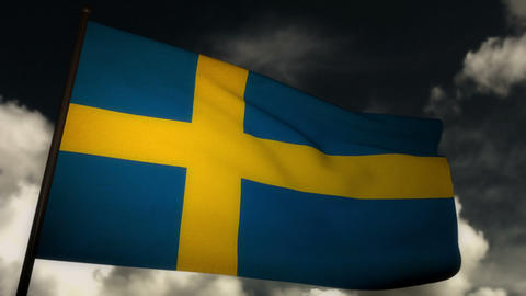 Flag Sweden 02 Stock Video Footage