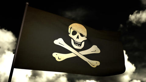 Pirate Flag 02 Stock Video Footage