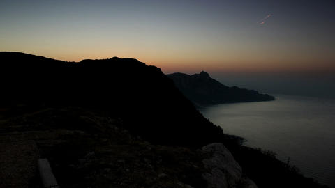 Timelapse sunrise in the mountains. Crimea, Ukraine Stock Video Footage