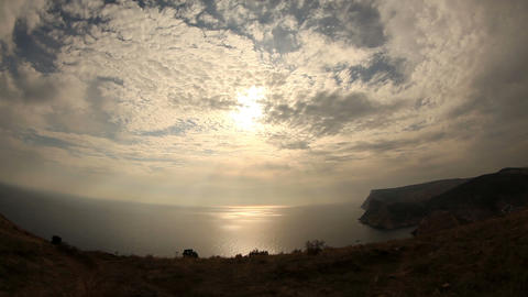 Clouds over the sea with fisheye view (Time Lapse) Stock Video Footage