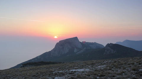 Timelapse sunset in the mountains. Crimea, Ukraine Stock Video Footage
