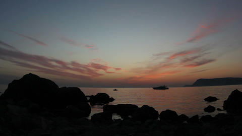 Timelapse sunset on the Black Sea. Crimea, Ukraine Stock Video Footage