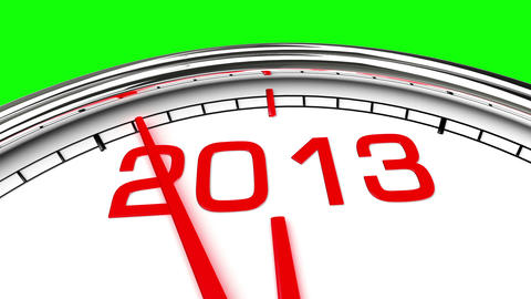 New Year 2013 Clock (Green Screen) Stock Video Footage