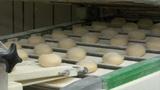 10731 roll bun on conveyor belt dolly close Footage