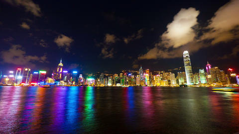Hong Kong show Symphony of Lights, time lapse Stock Video Footage
