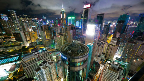 Hong Kong at night from roof, timelapse Stock Video Footage