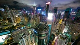 Hong Kong at night from roof, timelapse Footage