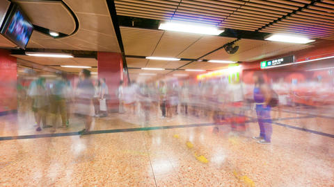 People traffic in Hong Kong subway, timelapse Stock Video Footage
