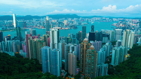 Sunset at Hong Kong from Victoria peak, timelapse Stock Video Footage