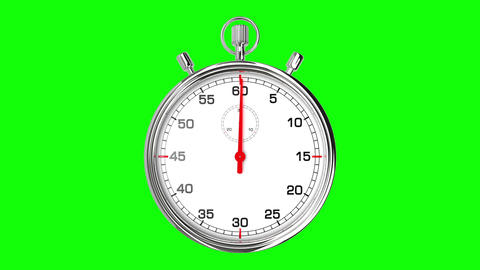 Stopwatch Loop Realtime (Green Screen) Stock Video Footage