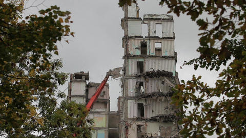 Time lapse demolition machine Stock Video Footage