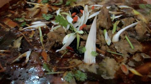 Chinese food. Chafing dish close up 01 Stock Video Footage