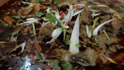 Chinese food. Chafing dish close up 01 Footage