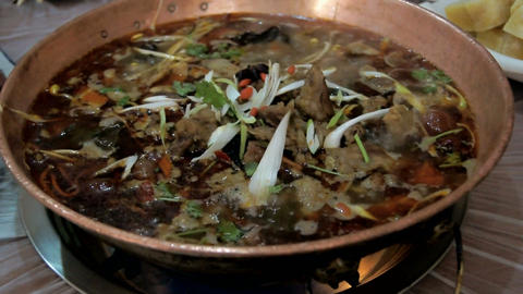 Chinese food. Chafing dish close up 02 Stock Video Footage