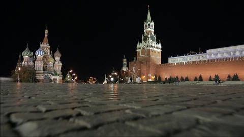 Night Red Square Stock Video Footage