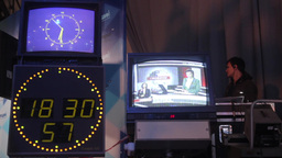 The monitors in the TV Studio during the broadcast Footage