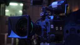 Professional Video Camera In The Studio During The TV Broadcast stock footage