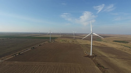 Wind farm with working wind turbines Footage