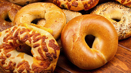 Assortment Of Bagels On Table stock footage
