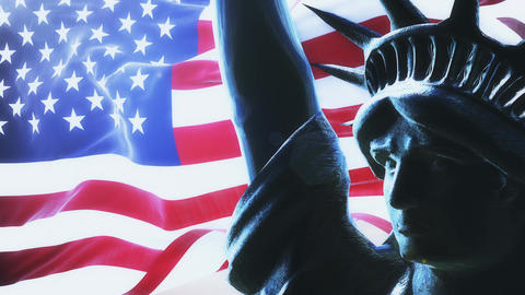 Flag of usa waving on rising sun with statue of liberty. Looped Animation