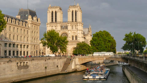 Notre Dame View from the River Seine in Paris at Sunset Footage