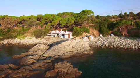 Mediterranean Coast Seaside Aerial Drone Costa Brava Footage
