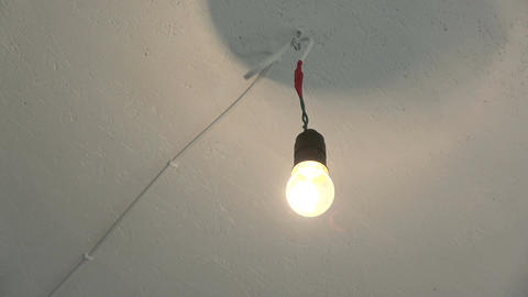 Old fashioned retro electricity lamp on ceiling Footage