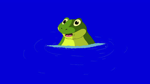 Frog Dives into the Water isolated on Blue Screen Animation