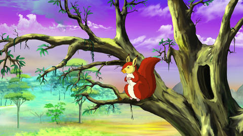 Cute squirrel on the tree UHD Animation