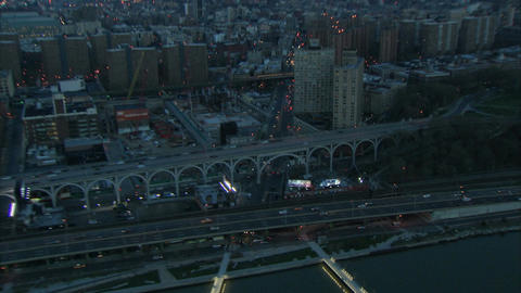 Aerial zoom in new york roadway Live Action