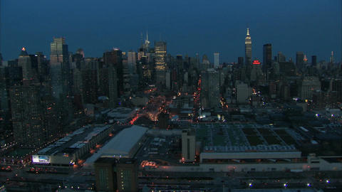 Midtown manhattan dawn aerial Live Action