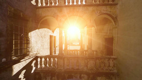 Flying into the sun light nostalgic building romantic old fly over Footage