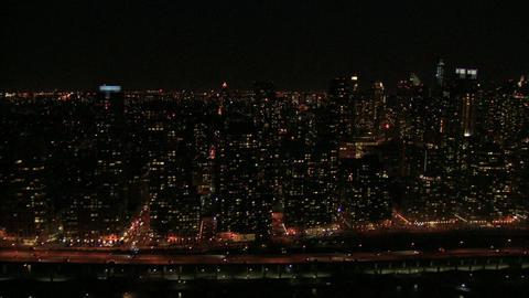 Manhattan nightlife overhead Footage