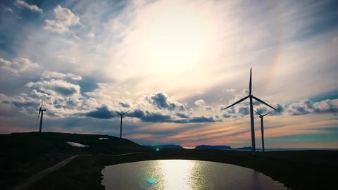 Windmills for electric power production arctic view havoygavelen windmill park h Footage