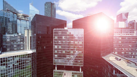 Modern futuristic city skyline skyscrapers cityscape modern buildings Footage