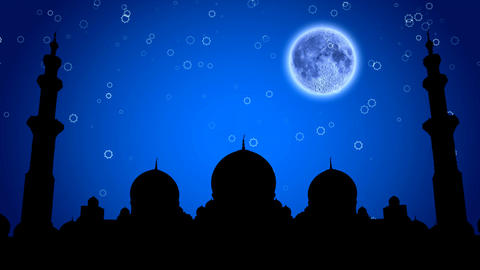 Muslim mosque at night under the moon Animación