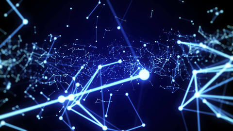 Network Connection Blue Abstract Loop Animation Background Stock Video Footage
