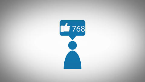 Pictogram - Person likes/favourites counter icon CG動画素材