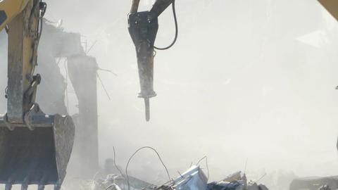Dust on Demolishing Site Footage